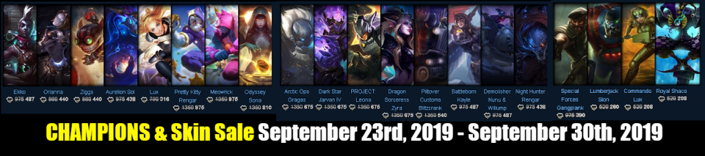 Champions and Skin Sale September 23rd, 2019 - September 30th, 2019